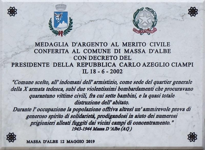 Il Comune di Massa D'Albe ricorda il 77° Anniversario del Bombardamento del 12 maggio 1944
