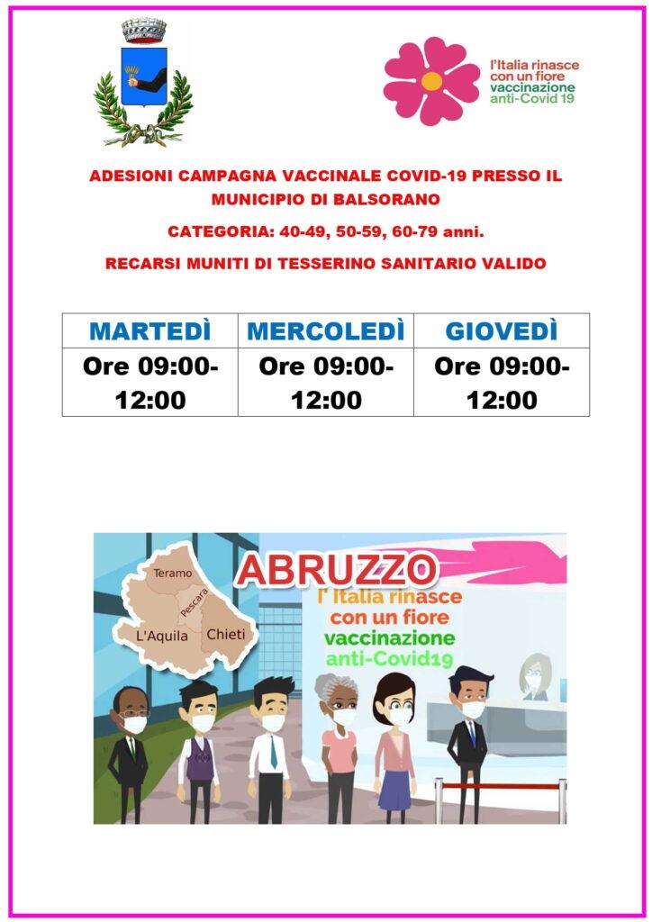 Il Comune di Balsorano a disposizione dei cittadini per l'adesione alla campagna vaccinale Covid-19