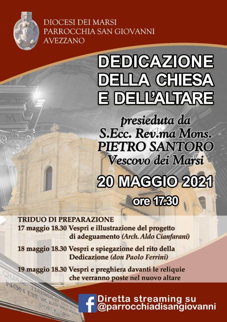 """""""Dedicazione della Chiesa e dell'Altare"""" alla parrocchia San Giovanni di Avezzano"""