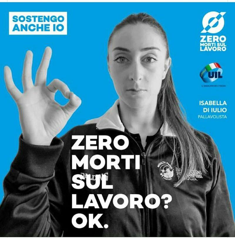 """""""Zero morti sul lavoro"""", la pallavolista marsicana Isabella Di Iulio per la campagna della UIL"""