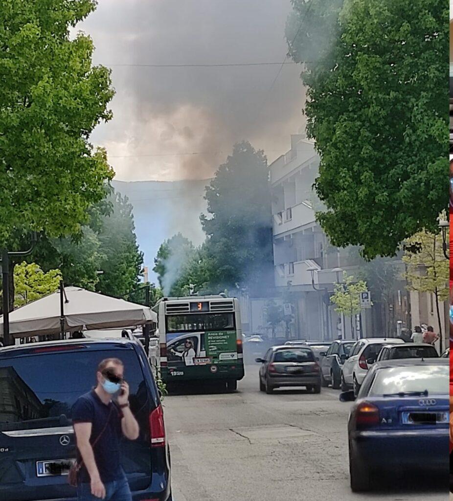 Autobus in panne nei pressi del Tribunale ad Avezzano