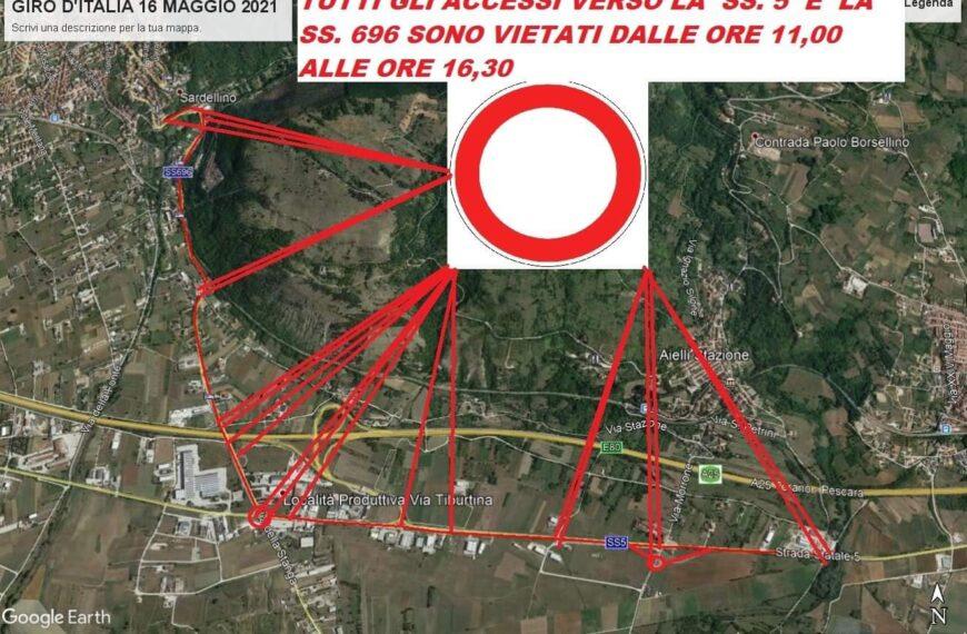 """Giro d'Italia, chiusura al traffico della S.S. 5 """"Tiburtina Valeria"""", chiuso in uscita il casello autostradale A25 di Aielli-Celano e di Cocullo"""
