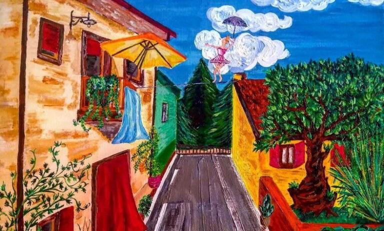 Via delle Orchidee di Collarmele in un dipinto dedicato a Fellini