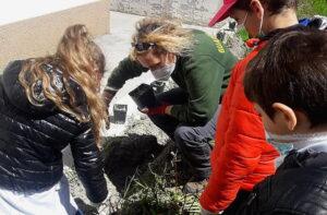Progetto Life Floranet Life: i bambini di Ovindoli hanno piantato fiori nell'aiuola della scuola