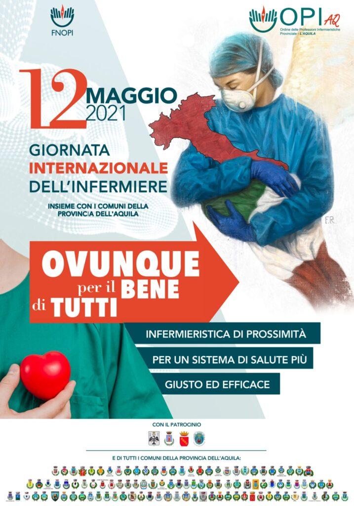 """12 maggio 2021 """"Giornata Internazionale dell'Infermiere"""", la Provincia dell'Aquila si illumina di verde"""