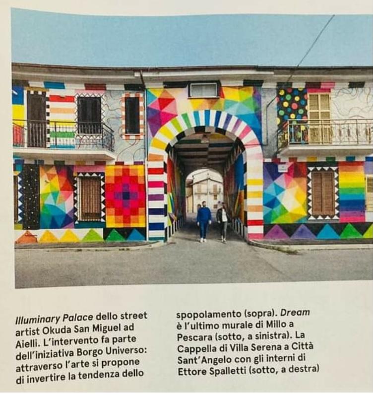 La Street Art per combattere lo spopolamento, Aielli e il murale di Okuda San Miguel su Living Corriere