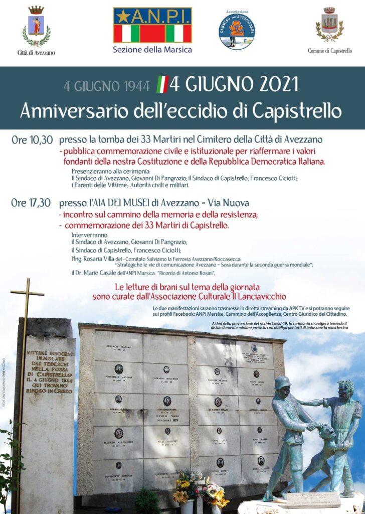 Anniversario dell'Eccidio di Capistrello, commemorazione presso la tomba dei 33 Martiri nel Cimitero di Avezzano