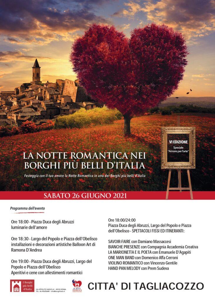 """Torna la """"Notte Romantica nei Borghi più belli d'Italia"""" a Tagliacozzo"""