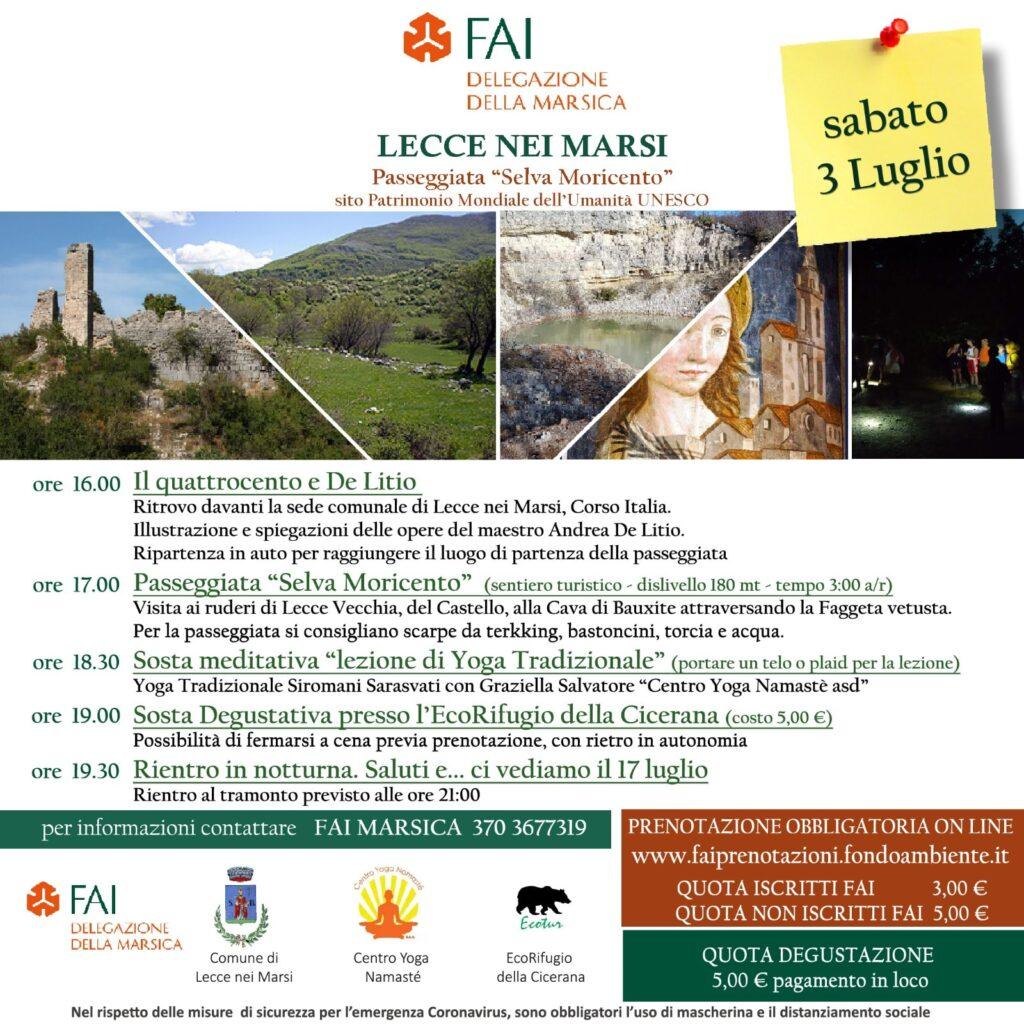 """Passeggiata """"Selva di Moricento"""" organizzata dal FAI Delegazione della Marsica"""