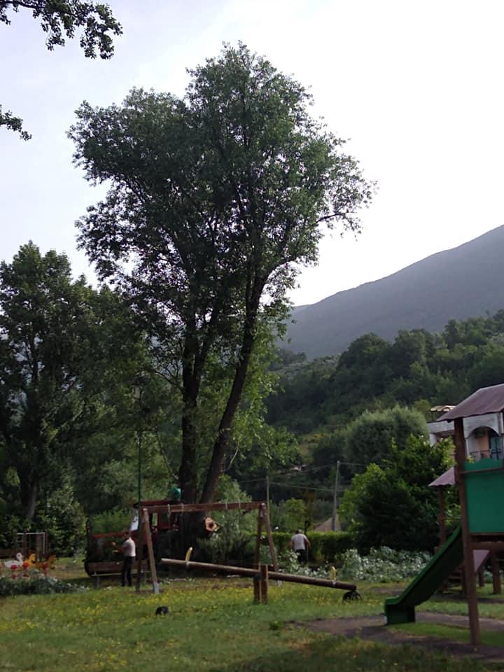 Rimozione degli alberi pericolosi al Parco Giochi Comunale di Civitella Roveto