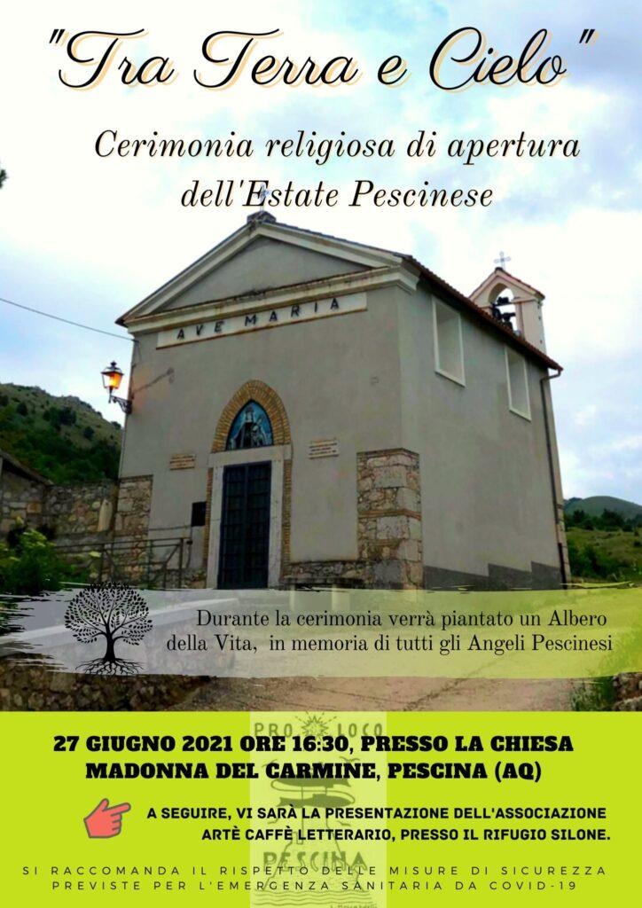 """""""Tra Terra e Cielo"""", cerimonia religiosa di apertura dell'Estate Pescinese domenica 27 giugno"""
