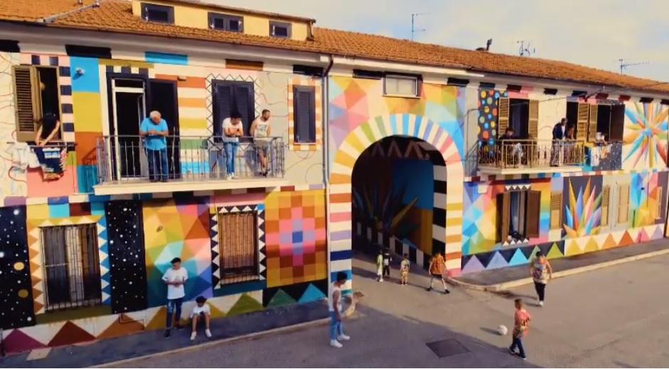 I murales di Borgo Universo e lo spot pubblicitario della nuova linea di abbigliamento sportivo Tap-in & Christian Vieri