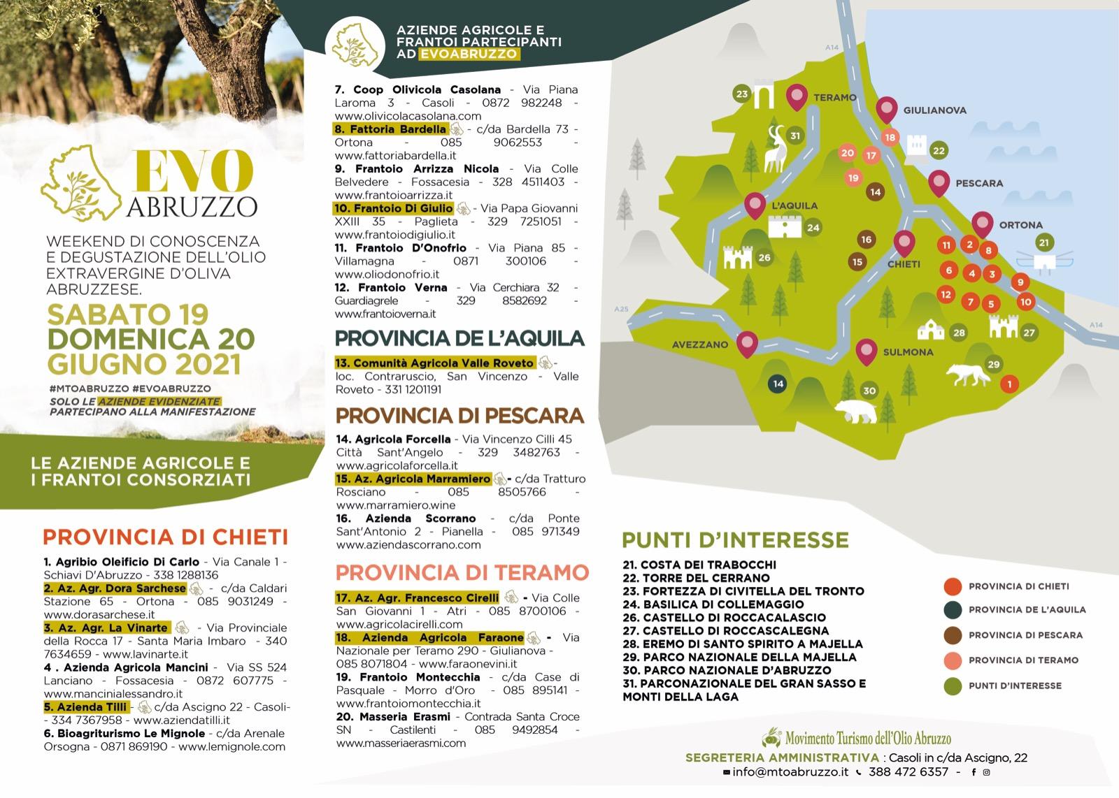 EVO Abruzzo, sabato 19 e domenica 20 giugno nelle aziende del Movimento Turismo Olio
