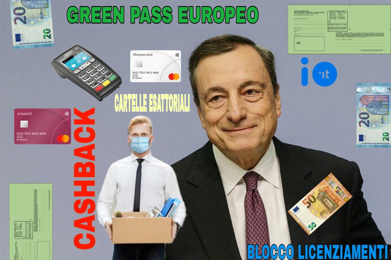 Oggi stop al cashback e super cashback, blocco licenziamenti solo per alcuni settori, parte il green pass europeo e cartelle esattoriali rinviate al 31-08