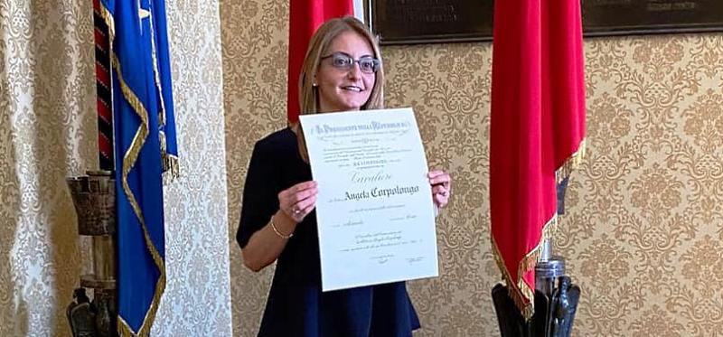 Dott.ssa Angela Corpolongo nominata Cavaliere della Repubblica italiana, i complimenti del Sindaco di Carsoli