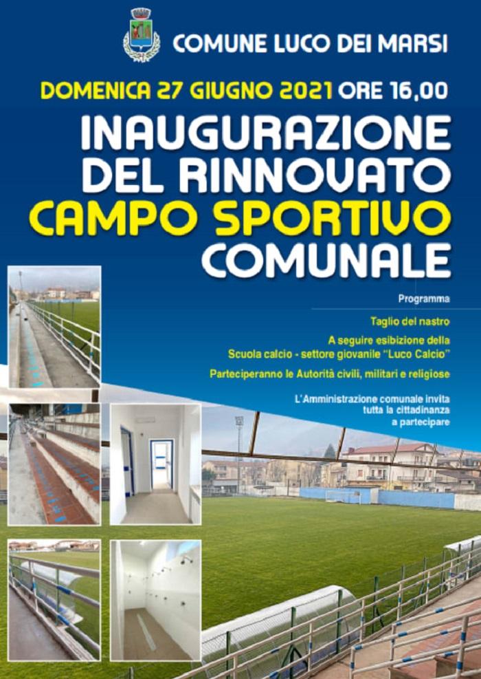 Inaugurato il campo sportivo comunale a Luco dei Marsi, taglio del nastro e benedizione dell'impianto sportivo