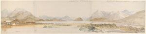 Il Lago Fucino in un acquerello del 1776 dell'artista britannico Charles Gore