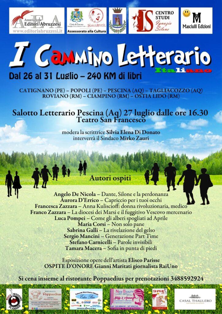 """Prima Edizione del """"Cammino Letterario Italiano"""", il 27 luglio farà tappa a Pescina"""