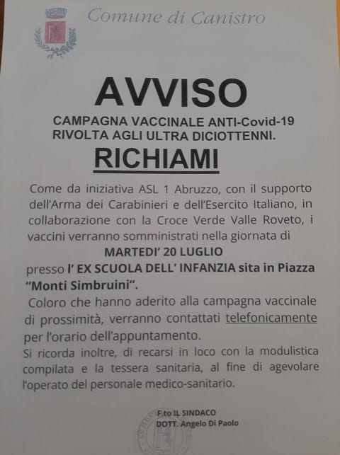 Campagna vaccinale a Canistro, i richiami per gli ultra diciottenni sono previsti per martedì 20 luglio