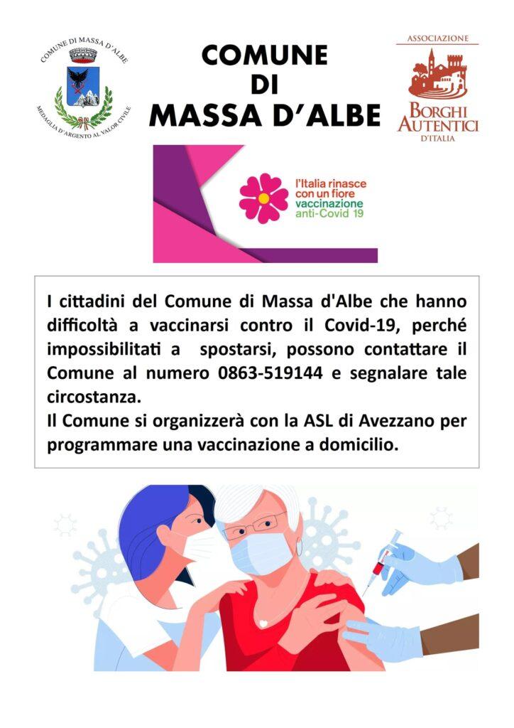 Il Comune di Massa d'Albe offre assistenza a chi non può spostarsi per la vaccinazione
