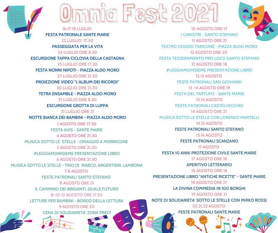 """Al via """"Omnia Fest 2021"""", la manifestazione estiva del Comune di Sante Marie"""