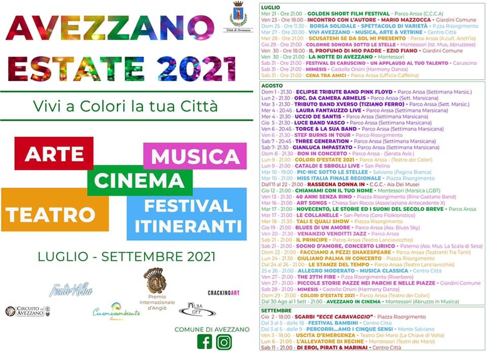 """Eventi estate ad Avezzano: Sgarbi """"insegna"""" Caravaggio, Ron e Palma in concerto. Ecco tutti gli eventi in programma"""