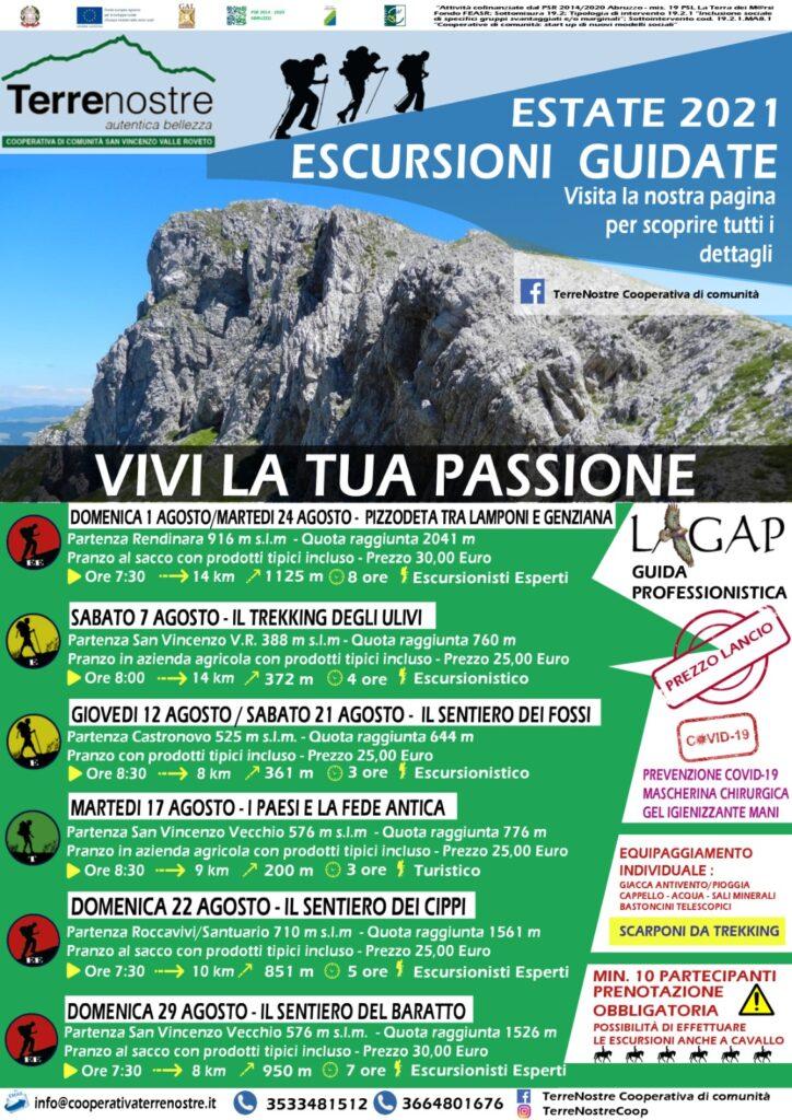 Dal 1° al 29 Agosto VIVI LATUA PASSIONE con le Escursioni Guidate nel territorio di San Vincenzo Valle Roveto