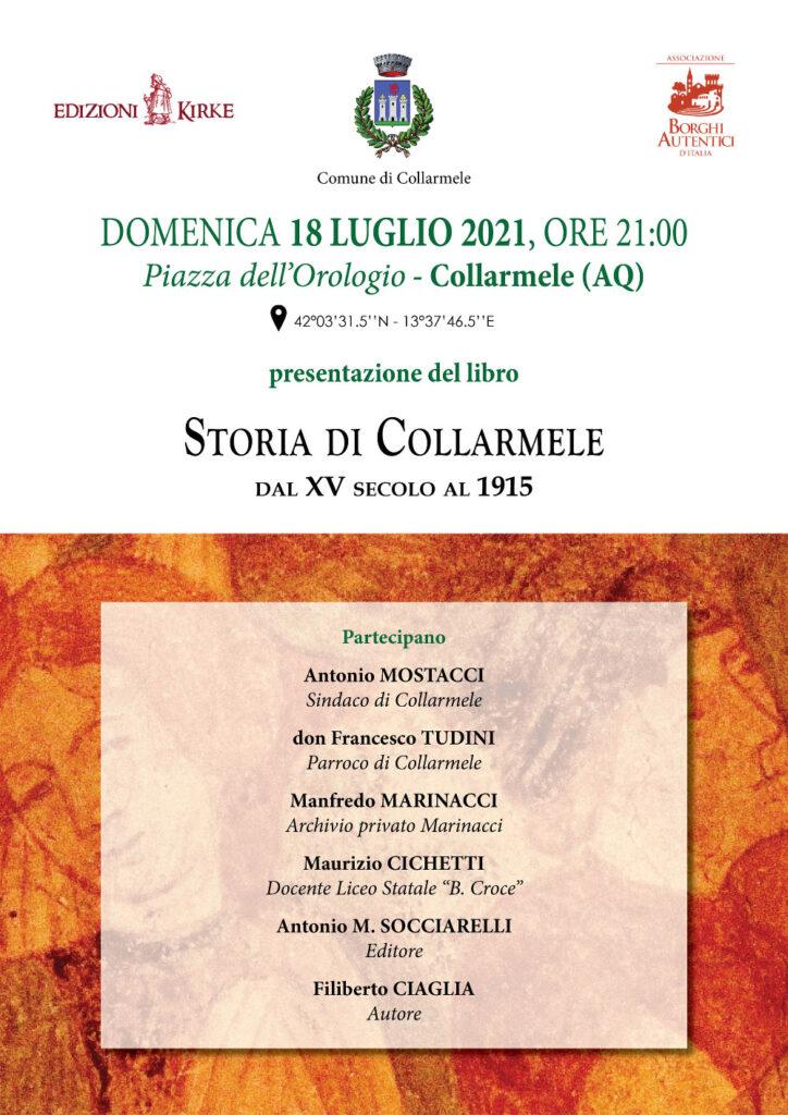 """Presentazione del libro """"Storia di Collarmele"""" di Filiberto Ciaglia"""
