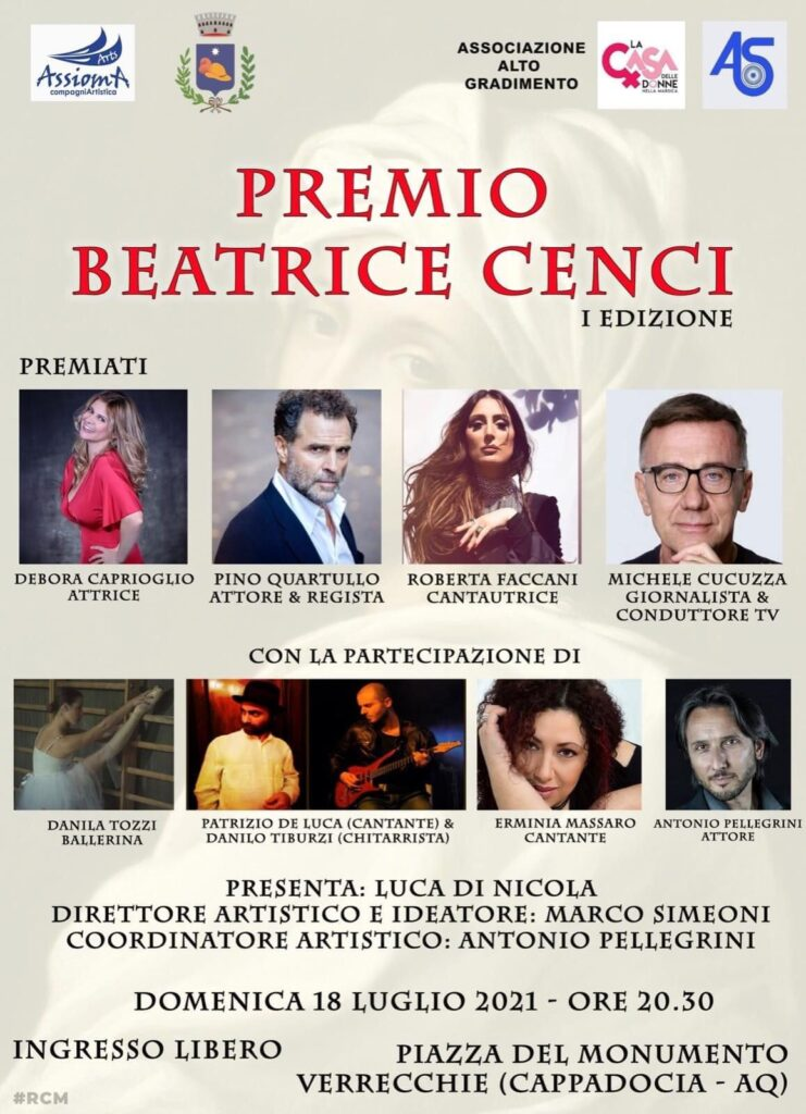 Premio Beatrice Cenci, prima edizione a Verrecchie domenica 18 luglio