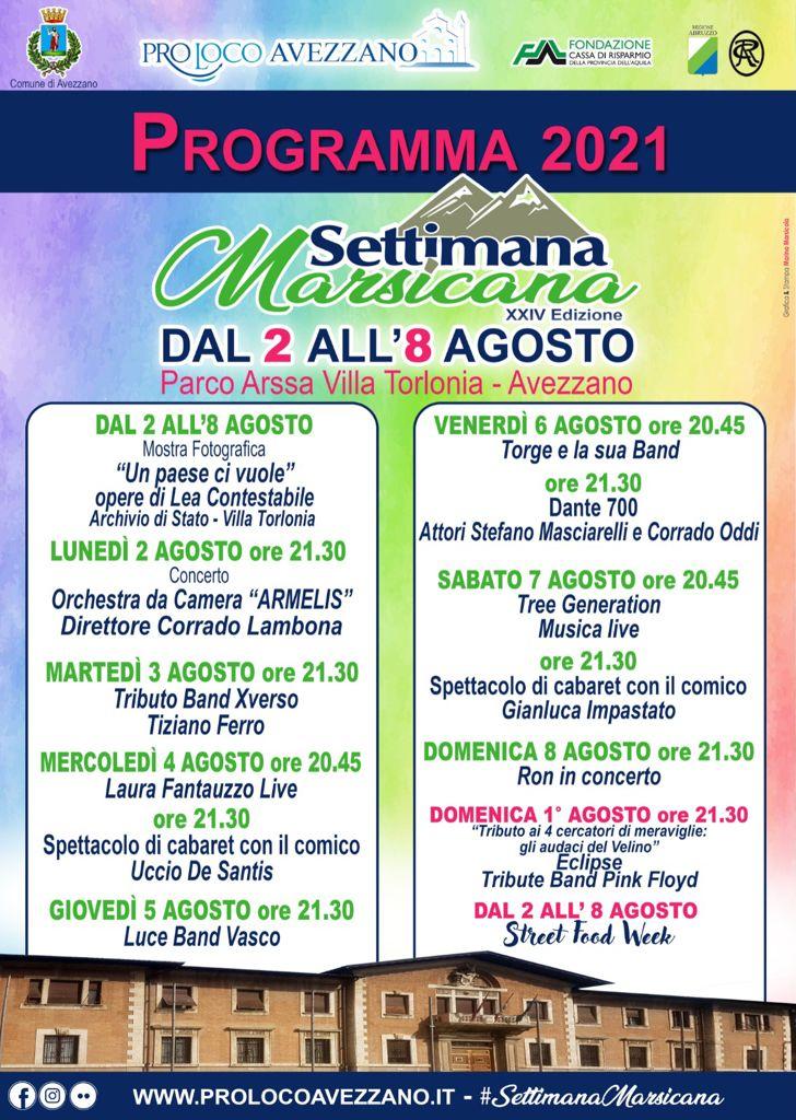 """Appuntamenti con la """"Settimana Marsicana 2021"""", 12 eventi e uno """"Street Food Week"""""""