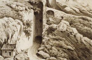 Veduta dell'emissario del Liri a Capistrello, stampa ottocentesca di Luigi Crosio