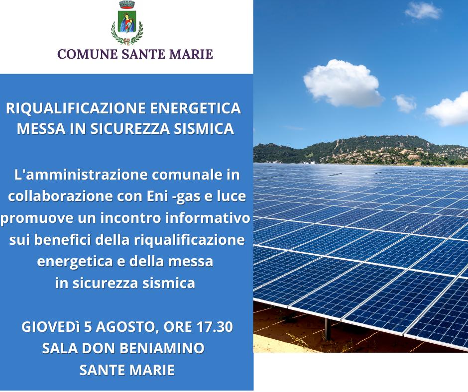 Sante Marie, oggi incontro informativo sulla riqualificazione energetica e messa in sicurezza sismica