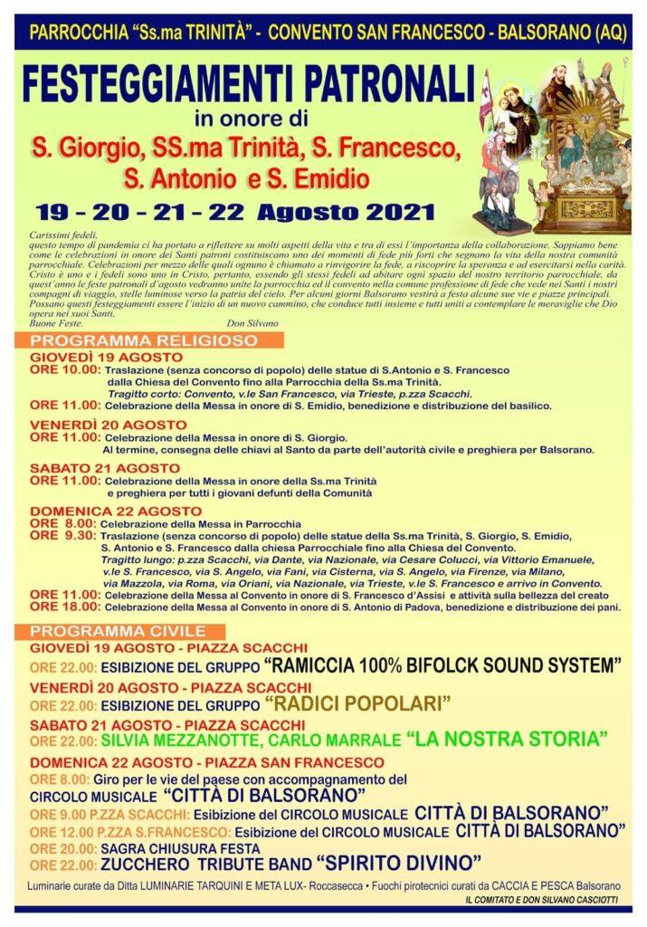 Festeggiamenti patronali a Balsorano, ecco il programma