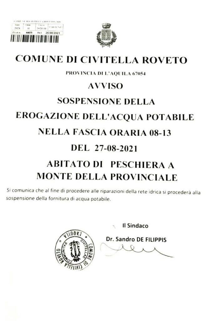 Sospensione erogazione acqua potabile a Civitella Roveto