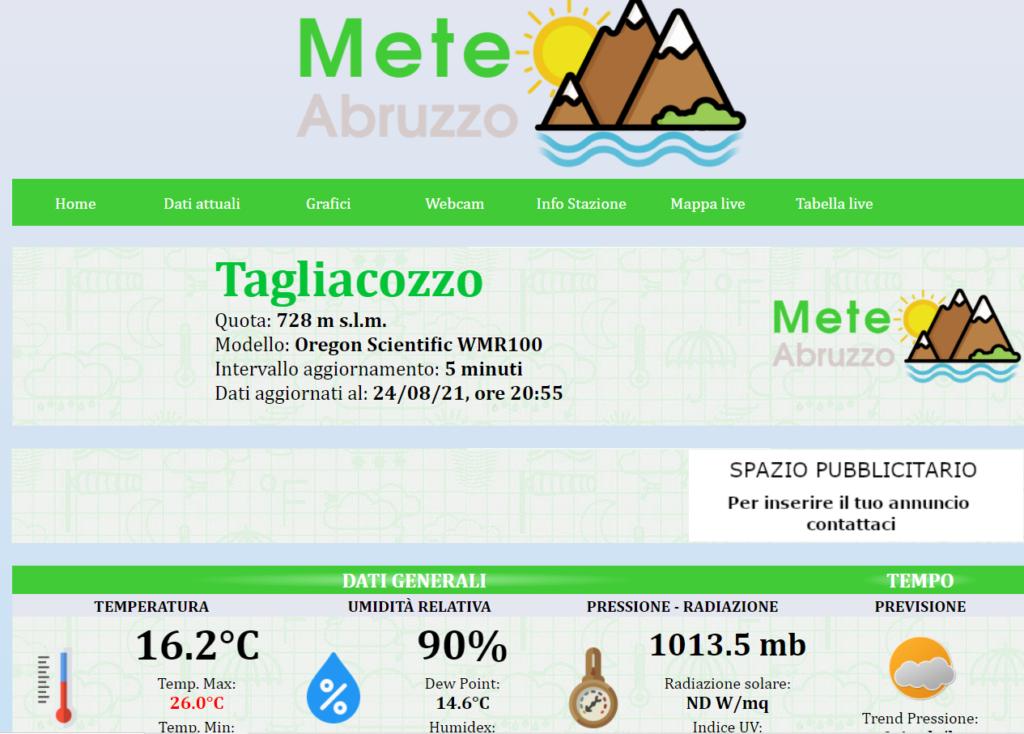 Attivata la Stazione Meteorologica della Protezione Civile di Tagliacozzo