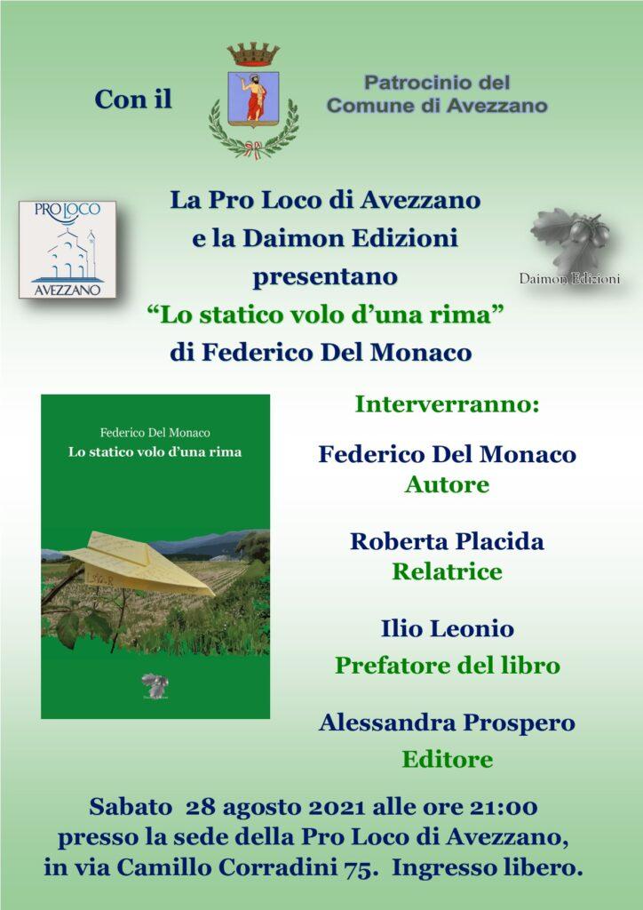 Lo statico volo d'una rima, presentazione ad Avezzano del libro di Federico Del Monaco