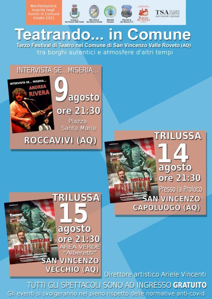 Al via stasera la 3^ edizione di Teatrando… in Comune a San Vincenzo Valle Roveto