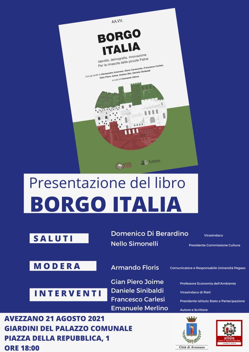 """Presentazione del libro """"Borgo Italia. Identità, demografia, innovazione. Per la rinascita delle piccole patrie"""""""