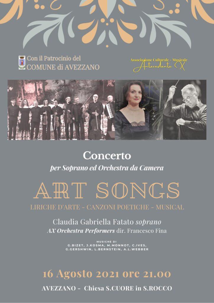 Art Songs - ad Avezzano un concerto che riunisce musica classica e musica leggera