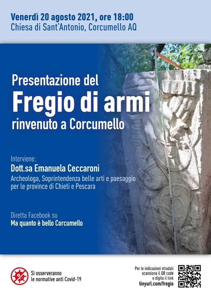 Presentazione dell'antico fregio di armi rinvenuto a Corcumello, venerdì 20 agosto