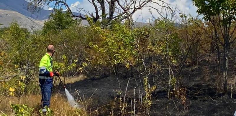 Principio di incendio tra Pescina e Collarmele, nonostante la pioggia