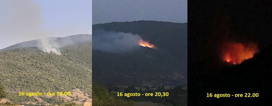 Incendio sul monte Salviano minaccia alcune attività agricole a valle del versante di Capistrello
