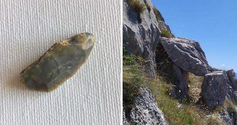 Strumento preistorico in selce rinvenuto da Angelo Ianni nei pressi della Serra di Celano