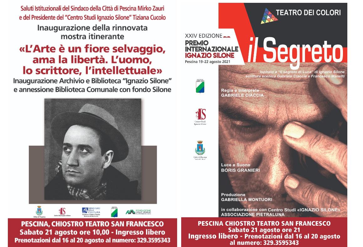 """Terza giornata del Premio Internazionale Ignazio Silone con l'inaugurazione della mostra itinerante e lo spettacolo """"Il Segreto"""""""