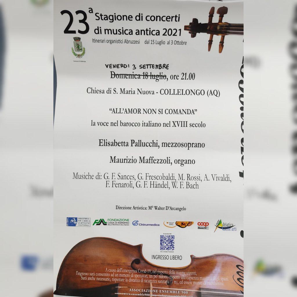 """""""All'amor non si comanda"""", il concerto di musica antica a Collelongo"""