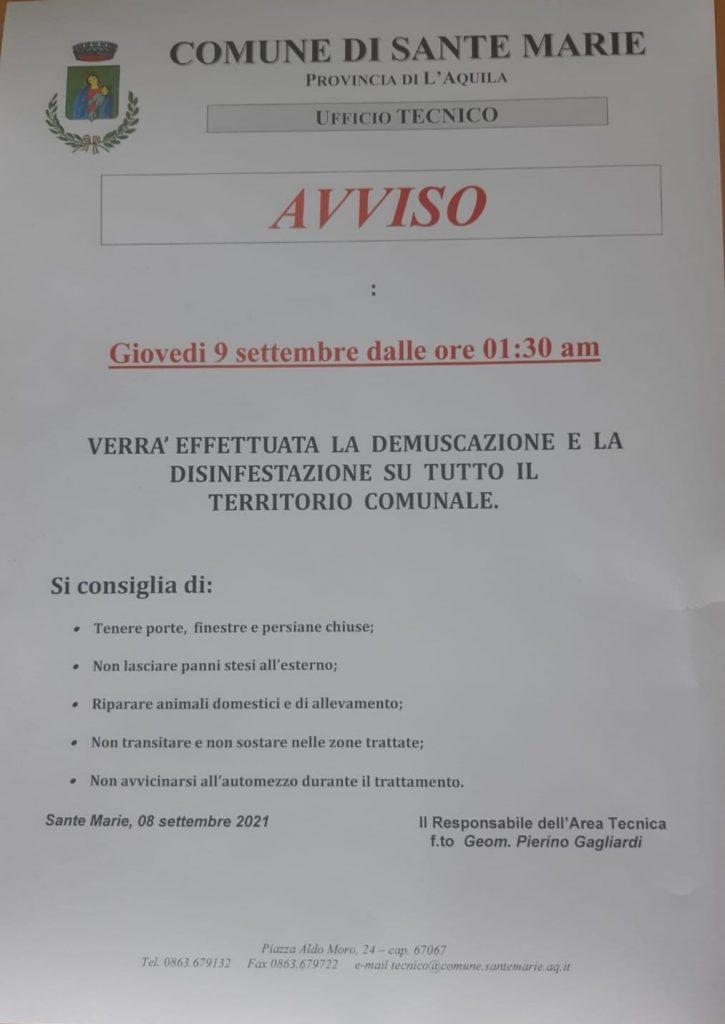 Intervento di demuscazione e di disinfestazione nel Comune di Sante Marie