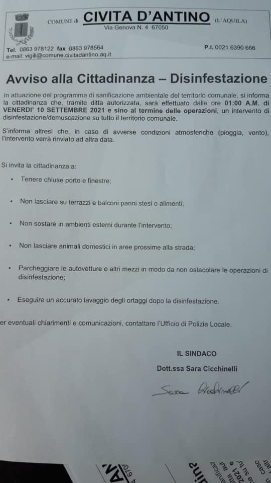 Intervento di disinfestazione nel Comune di Civita D'Antino