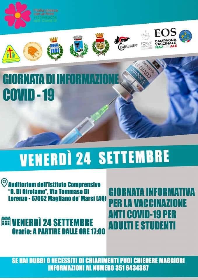 Incontro informativo sulla somministrazione del vaccino anti Covid a Magliano de' Marsi