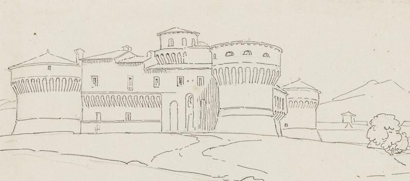 Il Castello Orsini di Avezzano in un disegno di Franz Ludwig Catel del 1812