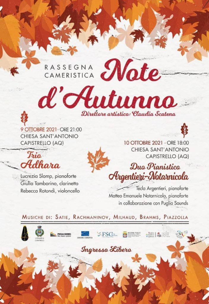 """""""Note d'autunno"""", a Capistrello due concerti per inaugurare la nuova rassegna cameristica"""